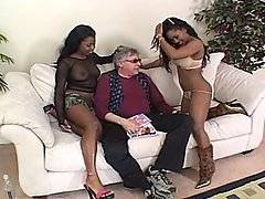Andy is sitting on the couch waiting for some action so Lori Alexia and Simone West provide him with some.  They take off their own clothes, slowly touching themselves at the same time. Simone sits on his face so he can eat her out and Lori massages her tits and holds her lips open for him. Erik Everhard comes in and replaces Andy, both girls are excited to get their mouths around his dick and on his balls. Lori is the first one to get his dick into her pussy, he goes back and forth between the two giving them each a taste of his cock and his jis.