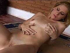 Andre Garcia wanted to fill Maria with something special, his dick.  He sees her alone, playing with herself and decides to keep her company.  His cock is already stiff, but he eagerly accepts a hot dick sucking from his new blonde friend.  They both are ready to fuck, so she bends over to open up her tight pussy and he sticks his dick all the way into her wet snatch.  Then she lets him fuck her asshole with his thick dick.  As he pounds her tight ass, she scream out in pleasure as she milks his black rod with her tight hole.