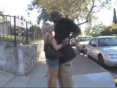 Cute blondie eagers to spend time with her black boyfriend.