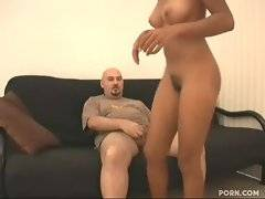 Ebonie gives helping hand to dude`s eager cock and than sits on it.