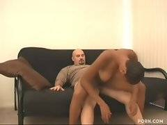 Busty ebony slutie gets her naughty pussy pocked by white dick.