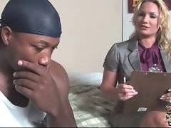 Good looking white milf knows how to persuade black guy to sign papers.