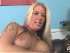 Nasty white mamma with hairy pussy jumps on hard black dick.