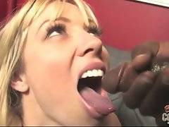Busty mature blonde welcomes fresh cum in her mouth.