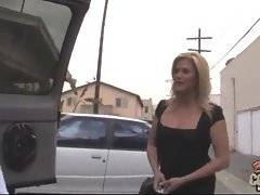 Naughty milf offers help to black man who`s car is broken.