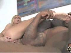Nasty mature cutie enjoys sex game with young tough black guy.