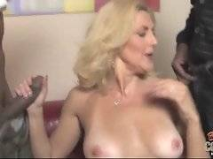 Big boobed white bitch is eager for two cocks