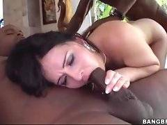 French sweetie gets two thick black dicks in her holes.