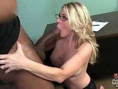Cock loving breasted ladyboss exploits tough black workman.