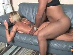 Ebony dude with big dick is fucking his chick