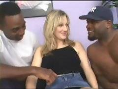 White twenty years old sweetie shows pussy to black guys.
