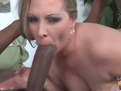 Alluring and lovely whore is sucking big phallus