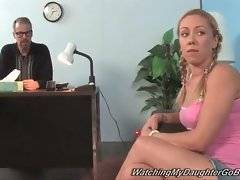 Naughty bitch is talking to her fathers about sex