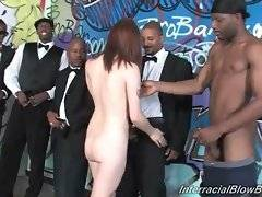 Black dudes undress white slutie and free their thick cocks.