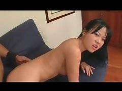 Horny black dude deeply toys asian babe`s asshole.