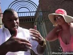 White cutie in sexy pink dress meets tough black guy.