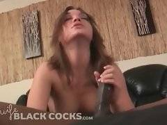 Brave bitch with long hair is doing awesome blowjob