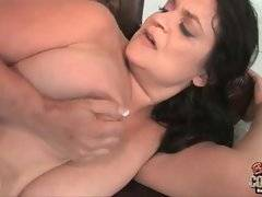 Breasted brunette mom is done by black dude.