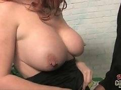 Frisky and hot slut is showing her big tits