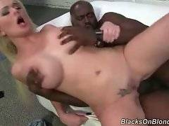 Hungry black dude deeply penetrates pretty white slut.