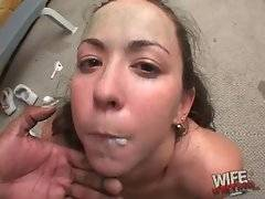Trinity Post opens her mouth to eat black man`s cum.
