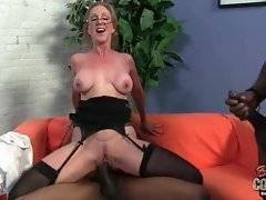 Breasted lady boss enjoys hot threesome with black guys.