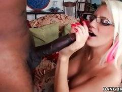 Sexy blonde doesn`t waste her chance to enjoy massive black bone.