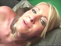 Sluty blonde chick likes to feel massive black dick moving into her pussy.