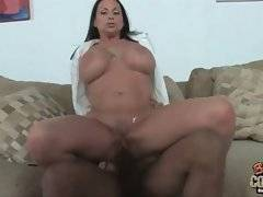 Huge tited brunette mommy is jumping on massive black bone.