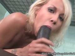 Naughty white chick greatly enjoys sucking and fucking black dude.