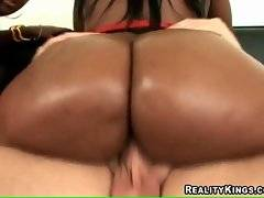 Awesome plump black whores are riding thick white cocks.