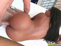 Dark chocolate cutie with large ass fucks with tough white friend.