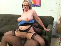 White milf gets all her love holes pounded by horny black brothas.