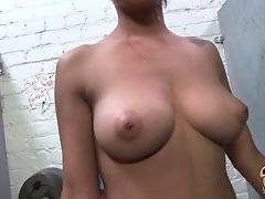 Amazing ebony chick Cherry Hilson is fucked through the hole in dirty restroom.
