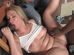 Cuckold rubs girlfriend`s clit to help her gain climax while black bull pounds her pussy.