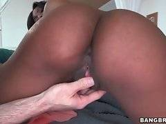 Pretty black babe Adriana skillfully makes herself wet.