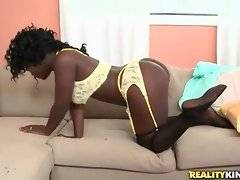 Sexy ebony Reeka passionately works her mouth at Tony`s thick cock.