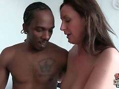 Horny black stud Charlie bangs and feeds Lara Latex with his fresh cum.