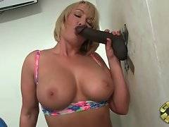 This breasted blond milf is very ready to have fuck with black stranger.