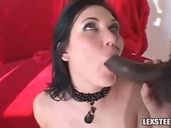 Brunette hooker tastes black lovers` cum after hot hard fucking.