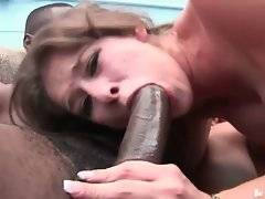 White sweetie does her best to pleasure two tough black men.