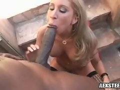 Slutty milf readily opens her mouth at take huge black cock deep inside.