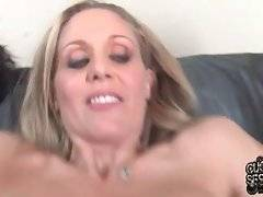 Nasty milf does her best to pleasure two horny black studs on her cuckold`s eyes.