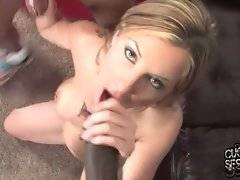 Awesome white babe loves to get attacked by three black guys.