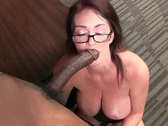 Slutty redhead milf Charlee Chase enjoys huge black dick.