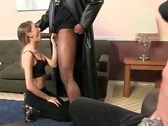 Pretty young girl tastes huge black cock to pay daddy`s debt.