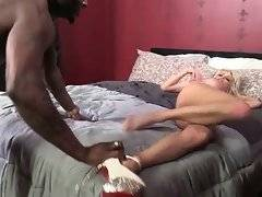 Mikki Lynn gets her welcome pussy furiously poked by black stud.