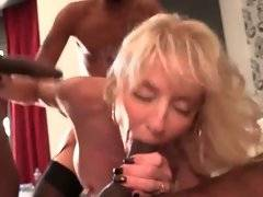 Attractive milf Cammille has fun with three tough black guys.