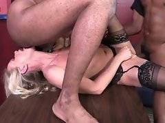 Two horny black guys work their cocks to please slutty white lady.
