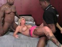 Nasty Allison Kilgore licks black guy`s balls and gets her ass poked by another dude.